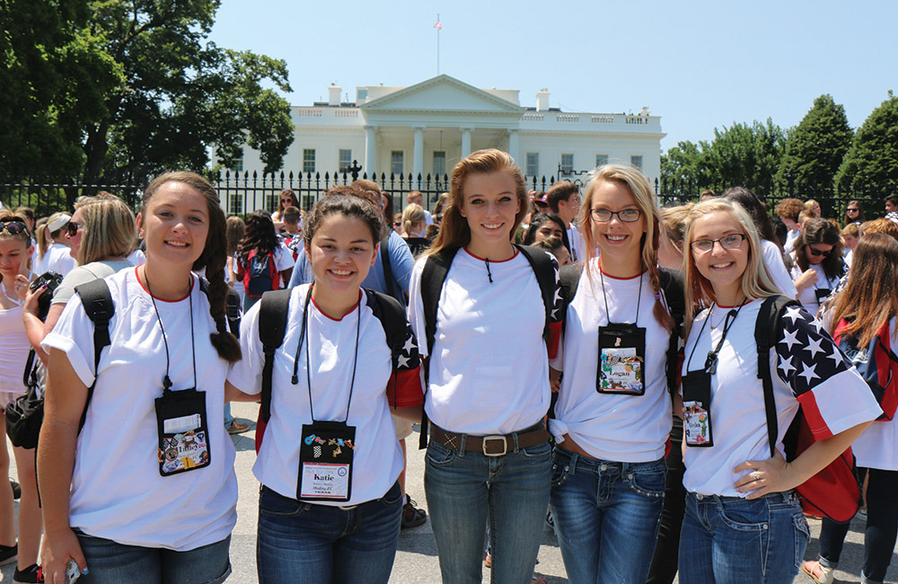 Youth Tour participants at the White House